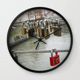 Love padlocks Wall Clock