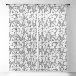 Puya Flowers Floral Pattern Greyscale Sheer Curtain