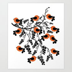 orange birds Art Print