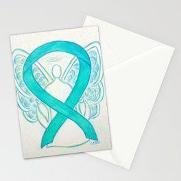 Teal Awareness Ribbon Angel Art Painting Stationery Cards