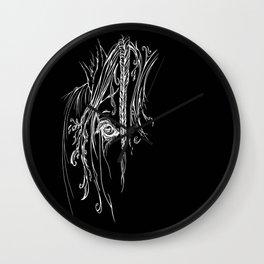 Tribal Horse white on black Wall Clock