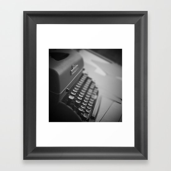 Black and White Typewriter  Framed Art Print