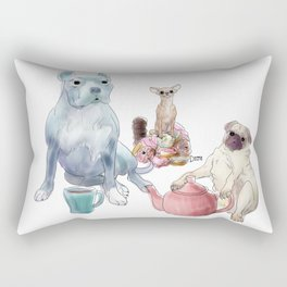The pitbull pug and chi sat down for some tea Rectangular Pillow