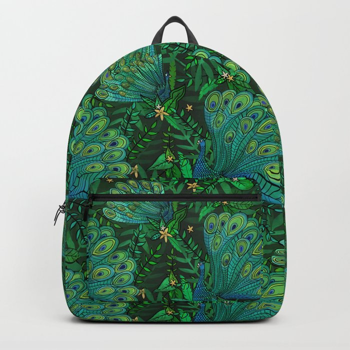 Peacocks in Emerald Forest Backpack