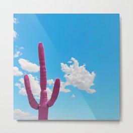 Pink Saguaro Against Blue Cloudy Sky Metal Print