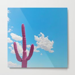 Pink Saguaro Against Blue Cloudy Sky Metal Print
