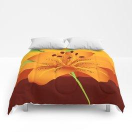 Orange Tiger Lily Comforters