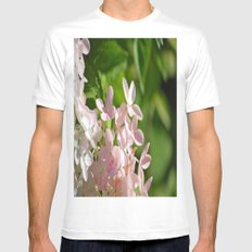 Pink Flowers Mens Fitted Tee MEDIUM White