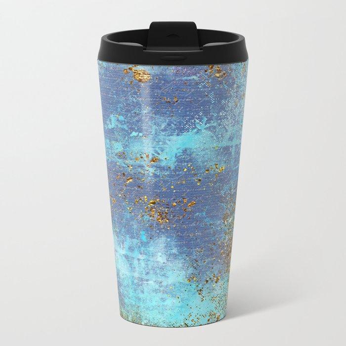 Gold Faux Glitter and Blue Mermaid Sea Foam Metal Travel Mug