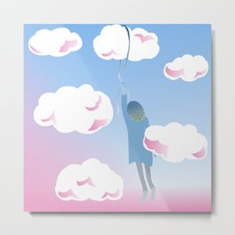 Girl in the Clouds Metal Print