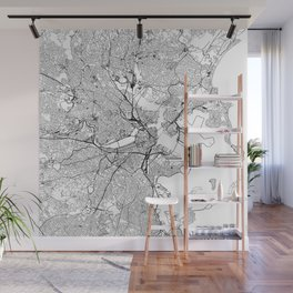Boston White Map Wall Mural