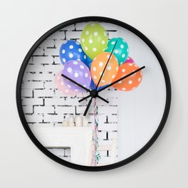 Balloon blue orange yellow green Wall Clock