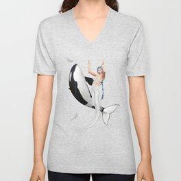 The Mermaid Dance With An Orca Unisex V-Neck