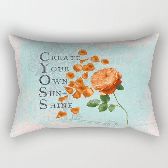 Sunshine- Quote with Rose Flower- Floral Collage and Wisdom on turquoise background Rectangular Pillow