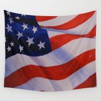 america Wall Tapestries featuring America by Gabrielle Fazio