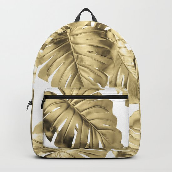 Gold Monstera Backpack