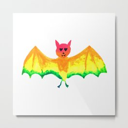 Bat with Heart Eyes Halloween Rainbow Painting Metal Print