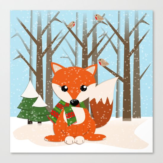 Cute winter fox with a red / green scarf, Canvas Print