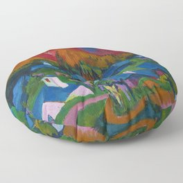 Return of the Animals Mountain Village Landscape painting by Ernst Ludwig Kirchner Floor Pillow