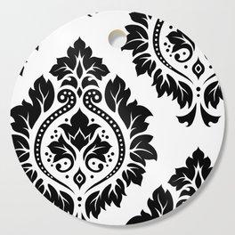 Decorative Damask Art I Black on White Cutting Board