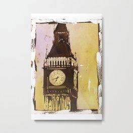 Watercolor painting of Big Ben rising above buildings near Trafalgar Square at dawn- London, England Metal Print