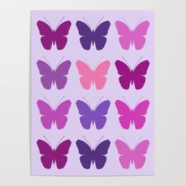 Butterly Silhouettes 3x3 Pinks Purples Mauves Poster
