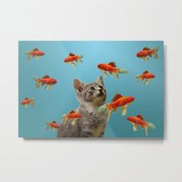 Goldfish with kitten Metal Print