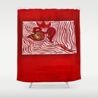 om Shower Curtains featuring om by Loosso