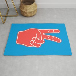 Peace and Love - Minimal Pop Art Hand Rug