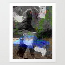 Abstract Canvas Painting Digital Art- Blue Vintage Car Art Print