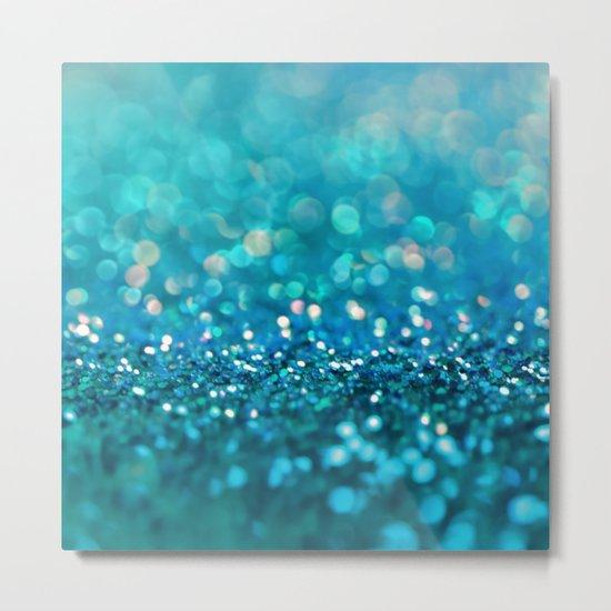 Aqua turquoise blue shiny glitter print effect- Sparkle Luxury Backdrop Metal Print