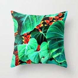 Bright Tropical Jungle Print With Caterpillars Throw Pillow