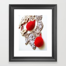 Red Cream Romanian Point Lace Photography  Framed Art Print