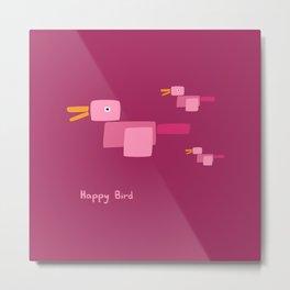 Happy Bird-Pink Metal Print