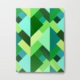 Modern Abstract Triangles, Emerald Green and Aqua Metal Print