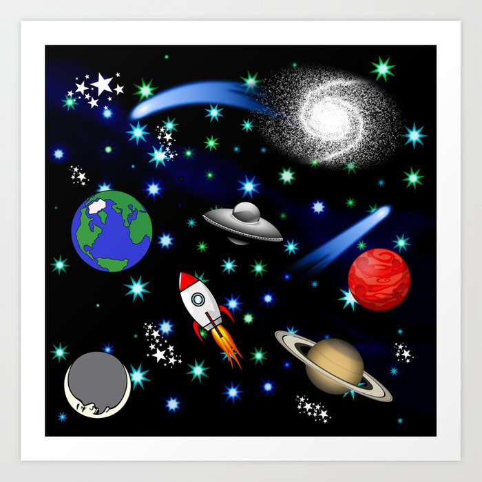 Galaxy universe planets stars comets rockets art print by gx9designs society6 - Galaxy and planets ...