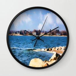 New England Shoreline - Painterly Wall Clock