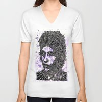 bob dylan V-neck T-shirts featuring Bob Dylan by Travis Poston