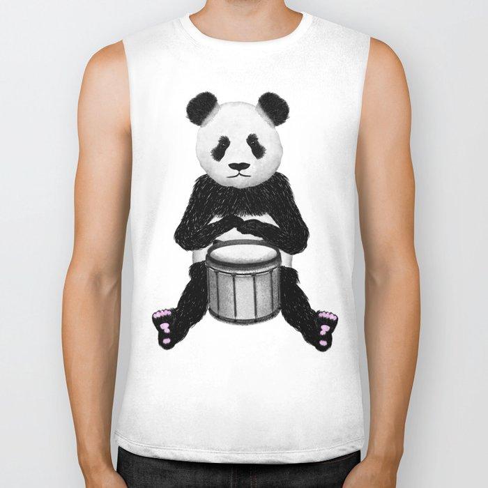 Panda Drummer Biker Tank