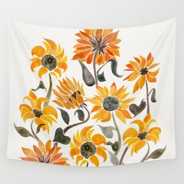 Sunflower Watercolor – Yellow & Black Palette Wall Tapestry