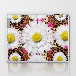 White Shasta Daisy Fuchsia  Pink Purple Patterns, Laptop & iPad Skin