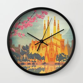 Barcelona Spain Vintage Travel Poster Wall Clock