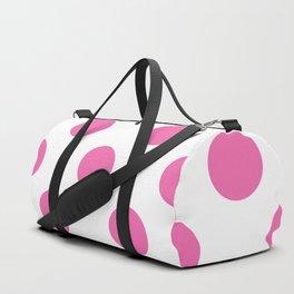 Geometric Candy Dot Circles - Strawberry Pink on White Duffle Bag