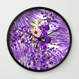 Lilac violet lavender lime green floral illustration Wall Clock