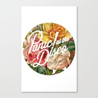 panic at the disco Canvas Prints featuring Panic! at the disco round vintage flowers by Elianne