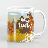 racoon Mugs featuring Lucky racoon by MonsterFromTheLAke