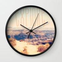 explore Wall Clocks featuring Explore by Bunhugger Design