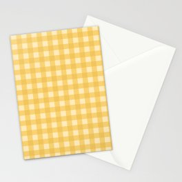 Gingham Pattern - Yellow Stationery Cards