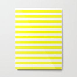 Narrow Horizontal Stripes - White and Yellow Metal Print