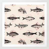 cake Art Prints featuring Fishes In Geometrics (Red) by Florent Bodart / Speakerine